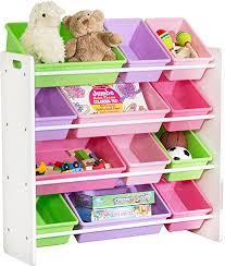 Amazon Com Honeycando Kids Toy Storage Organizer With Bins Pastel Home Kitchen