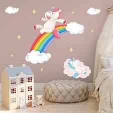 Happy Unicorn Rainbow Wall Stickers Cloud Stars Decals For Kids Room Girls Bedroom Nursery Decor Cartoon Animal Art Decoration Wall Stickers Aliexpress