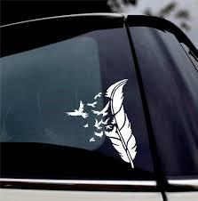 Feather Bird Decal Laptop Sticker Car Truck Bumper Window Door Cup Sign Logo Vinyl Decal Home