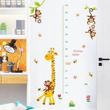 Shop Giraffe Monkey Height Chart Wallpaper Wall Sticker Diy Kids Children Room Decor Online From Best Wall Stickers Murals On Jd Com Global Site Joybuy Com