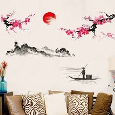 Plum Sunrise Landscape Chinese Style Art Wall Stickers Living Room Bedroom Background For Home Decoration Mural Decals Wallpaper Bemmengurun