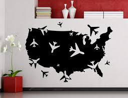 Airplane Around The World Logo Wall Decal Usa United States Map Aircraft Air Bus Plane Airport Tourist Agency Vinyl Sticker Home Room Interior Art Decoration Mural Waterproof Vinyl Sticker 129xx