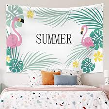 Amazon Com Leowefowas Room Decor Summer Theme Baby Kids Room Tapestry Pink Flamingo Tropical Green Plant Wall Hanging Modern Home Decoration Wall Art Blanket 59 1 X51 2 Wall Tapestry For Living Room Bedroom Home