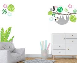 Sloth Fabric Wall Decal Modern Jungle Decal Branch Toucan Nurserydecals4you