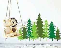 3 Color Pine Tree Forest Wall Decals Tree Wall Decals Forest Mural Forest Tree Ebay