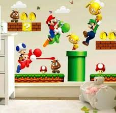 Super Mario Brothers Wall Decal 3d Stickers Mural Childs Room Nursery Decor Easy Ebay