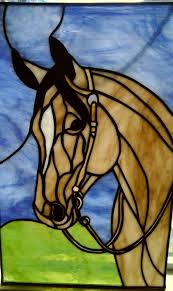 stained glass horse window