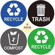Amazon Com Recycle Sticker Trash Bin Label 8 Pack 4 X4 Waterproof Organize Coordinate Garbage Waste From Recycling Indoor Outdoor Great For Metal Aluminum Steel Or Plastic Trash Cans Use At Kitchen Office Home Kitchen