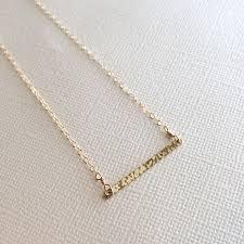 gold bar necklace horizontal hand cut