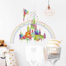 Amazon Com Decalmile Watercolor Rainbow Castle Wall Stickers Fairy Princess Wall Decals Girls Bedroom Baby Nursery Wall Decor Home Kitchen