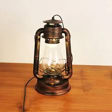Amazon Com Lin Xiao Hao Mayu Lantern Kerosene Desk Lamp Retro With Switch Living Room Bedroom Table Lamp Home Kitchen