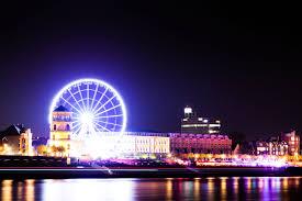 skyline night ferris wheel