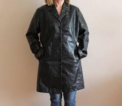 vintage black faux leather coat women s