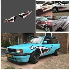 2x59 Full Size Flying Tiger Shark Mouth Teeth Car Suv Bumper Sticker Door Decal Ebay