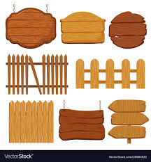Cartoon Wooden Garden Fence Blank Wood Banners Vector Image
