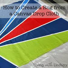an outdoor rug from a canvas drop cloth