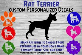 Rat Terrier Personalized Dog Silhouette Vinyl Decal Dog Etsy
