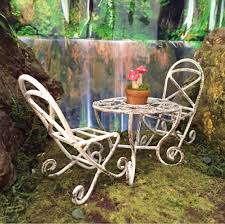 fairy garden metal table chairs with a