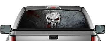 Perforated Punisher Sticker Skull Pick Up Truck Back Window Graphic Decal Vinyl 33 99 Picclick