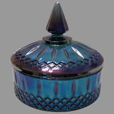 blue carnival glass candy dish by