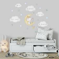 Wall Decals Animals On Cloud And Moon Kidscutedecorations