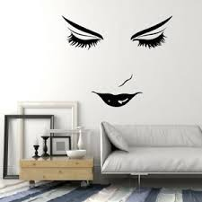 Vinyl Wall Decal Beautiful Woman Face Girl Lips Eyelashes Makeup Stickers 2085ig Ebay