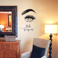Hello Gorgeous Wall Decal Eyelashes Eye Wall Art Vinyl Mural Removable Girls Bedroom Decor Wall Stickers Aliexpress