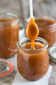 homemade salted caramel sauce table