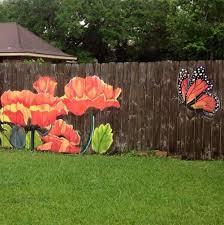 Flowers And A Monarch Butterfly Garden Fence Art Garden Mural Fence Art