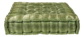 Late 20th Century Vintage Oversized Silk Square Green Tufted Moroccan Floor Cushion Chairish