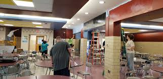 """Wendi Snyder on Twitter: """"Thanks to all the MS staff who are donating their  time & energy to paint in the MS cafeteria and hallway. I feel truly  blessed to be a"""