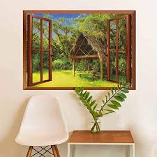 Amazon Com Homesonne Tiki Bar Vinyl Removable Decals Tiki Hut In Dreamy Fantasy Forest Tropical Island Wildlife Greenery Art Vinyl Green Blue Brown 36x48 Inch Home Kitchen
