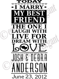 Today I Marry My Best Friend Wedding Vinyl Decal Wall Stickers Letters Words