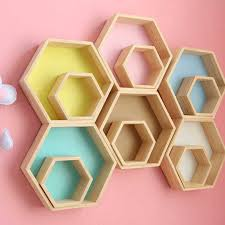 Nordic Style Nursery Kids Room Decoration Shelf Wooden Yellow White Honeycomb Hexagon Shelves For Baby Child Bedroom Decoration Storage Holders Racks Aliexpress
