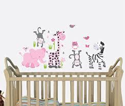 Amazon Com Pink Gray Safari Animal Decals Baby Girl Jungle Stickers Pink Decal Girls Nursery Baby