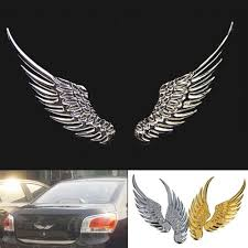 Exterior Accessories 3d Metal Angel Wing Silver Funny Car Decals Stickers Rear Emblems Car Styling 20pcs Lot Itrainkids Com
