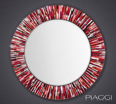 roulette piaggi red glass mosaic round