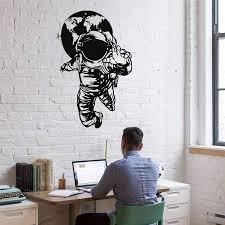Amazon Com Metal Wall Art Metal Astronaut Decoration Metal Wall Decor Space Travel Astronaut Art Kids Room Decoration 22 Wx36 H 55x90 Cm Everything Else