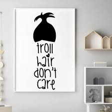 Girl S Room Wall Decal Troll Hair Don T Care Etsy