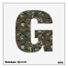 Alphabet Letter G British 95 Forest Camouflage Wall Sticker Zazzle Com Camouflage Room Custom Wall Decal Room Decals
