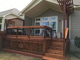 Cedar Deck With A Lattice Privacy Fence And Mini Arbor San Antonio Tx Traditional Deck Other By Diamond Decks