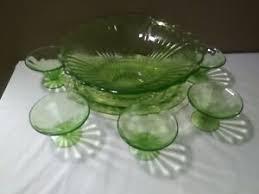 depression glass punch bowl cups set