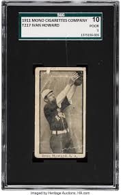 1911 T217 Mono Ivan Howard SGC 10 Poor 1.... Baseball Cards Singles   Lot  #82678   Heritage Auctions