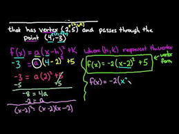 find quadratic function given vertex