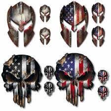 4 Pack Spartan Helmet Punisher Skull Decal Sticker Molon Labe Sniper Usa Flag Low Priced Decals Lots Of Designs