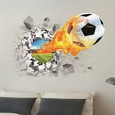 2 Pack 3d Self Adhesive Football Wall Stickers Pvc Soccer Stickers For Men Teenager Boy Kid Children Baby Room Nursery Wall Art Murals Wallpaper Poster Wall Decals Removable Decors Kids Room Decor Wall