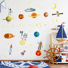 Zs Sticker 90 130cm 35 51 Inch Outer Space Kids Room Square For Boys Room Rocket Planet Wall Stickers Vinyl Wall Decals Kids Room Vinyl Wall Decalswall Decals Aliexpress