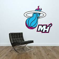 Miami Heat Logo Wall Decal Nba Basketball Vice Nights Decor Sport Vinyl Sticker Ebay