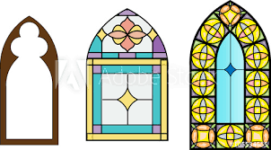 church stained glass windows vector