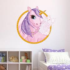 Cute Cartoon Unicorn Wall Stickers Unilovers Kids Wall Decals Unicorn Wall Decal Horse Wall Decals